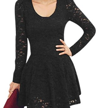 Allegra K Ladies Scoop Neck Long Sleeve Casual Pullover Lace Skater Dresses