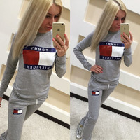 Sports Patchwork Sponge Alphabet Print Long Sleeve Casual Sportswear Set [8081448967]