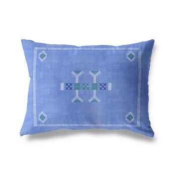 MORROCCAN KILIM BLUE Lumbar Pillow By Becky Bailey
