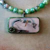 Bella Bird Altered Art Domino Necklace by dragonflysublime on Etsy