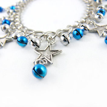 Starry Night Blue Silver Star Jingle Anklet Made by angelyques
