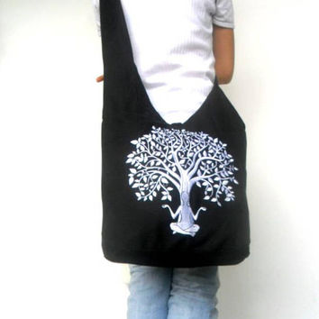 Bohemian Bag Tree of life Crossbody Bag embroidered bag Shoulder Bag Hippie Black Color Bag Messenger Bag Hobo  Boho Purse Sling Gift Bag