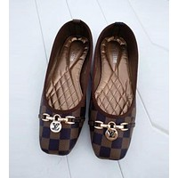 LV Trending Women Stylish Coffee Plaid Print Flats Boat Shoes Single Shoes I12155-63