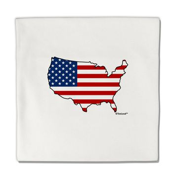 """United States Cutout - American Flag Design Micro Fleece 14""""x14"""" Pillow Sham by TooLoud"""