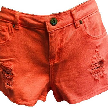 Neon Coral Distressed Denim Shorts