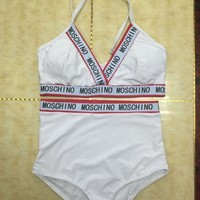 ''MOSCHINO'' Bikini Set Retro Bandage Swimsuit Letter Halter Top Swimwear Bathing Suit
