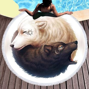 Yin and Yang Wolves Tassel Tapestry Round Beach Towels