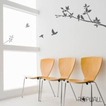 Vinyl Wall Sticker Decal  Birds on Branch   003 by NouWall on Etsy