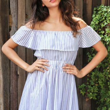 Striped Off-shoulder Dress