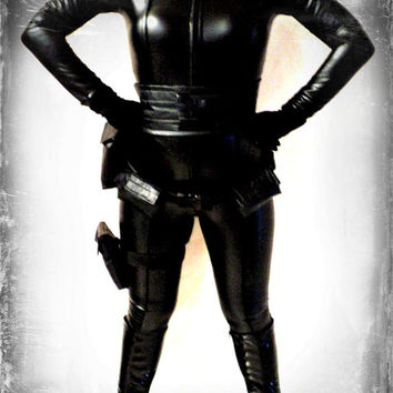costume all leather catsuit  made to order custom superhero costume  all included belts gloves 5 pieces