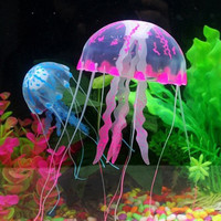 4 Size Soft Silicone Artificial Glowing Jellyfish For Aquarium Fish Tank Ornament Swim Decoration