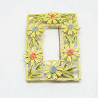Yellow Flower Brooch - Daisy Framed Rectangle Pin - Vintage Designer Signed ART