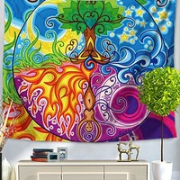 Tree of Life Psychedelic Seasons Bed Wall Tapestry