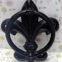 Fleur de lis Cast Iron Classic Black FDL Welcome Door Knocker Decor Paris Shabby Chic Cottage Distressed House Greeting Knock  Guests