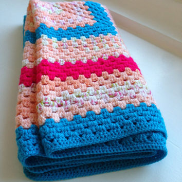 Super Soft Retro 60's / 70's Style Hand Crocheted Chunky Knit Square Blanket. 75cm X 75cm
