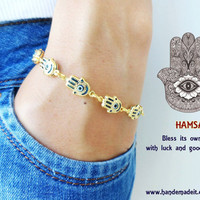 Hamsa hand of fatima evil eye bracelet - mother jewelry birthday gift arabic dubai turkish istanbul bracelets accessories gold plated women