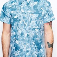 Wrangler Shirt Short Sleeve Slim Fit Mermaid Print -