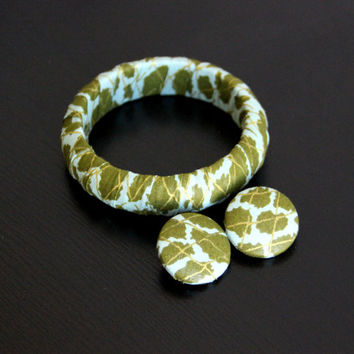African Fabric-Covered Earring and Bangle Set - Green and Gold Leopard Print