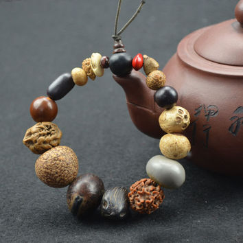 Natural 18 Bodhi Seed Tibet Buddhist Prayer Beads Mala Bracelet Buddha Charm Bangle Jewelry