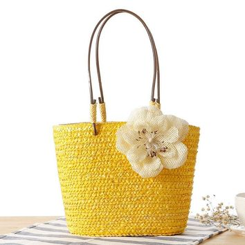 Osmond 2017 Summer Beach Straw Bucket Bag Drawstring Women Handmade Shoulder Bags Knitted Handbags Woven Flower Casual Tote Hand
