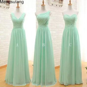 Robe de soiree 2018 New Arrival Three Styles A Line Mint Green Long Chiffon A Line Pleated Bridesmaid Dress Under 50