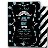Little Man Birthday Invitation - Mustache Invitation - Chalk Moustache Invitations - 1st Birthday Invitation Boy - Bowtie Invites - Boys