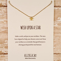 Petite Gold Plated Star Necklace and Card Set | Wish Upon A Star Necklace | Friendship Gift