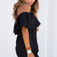 Yisa Ruffle Off Shoulder Dress - Black