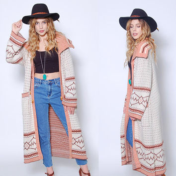 Vintage 70s Sweater Coat SOUTHWESTERN Maxi Sweater Long Cardigan BOHO Sweater Hippie Wrap Sweater