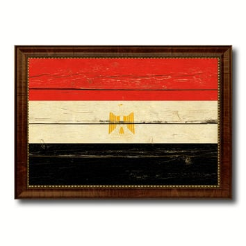 Egypt Country Flag Vintage Canvas Print with Brown Picture Frame Home Decor Gifts Wall Art Decoration Artwork