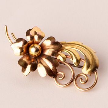 Vintage 14kt Gold Filled Floral Brooch