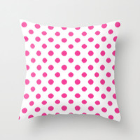 Velveteen Pillow - Fuchsia Ikat Polka Dots - Spring Decorations  - Pink Throw Pillow - Housewares - Teen Room Decor - Girls Bedroom
