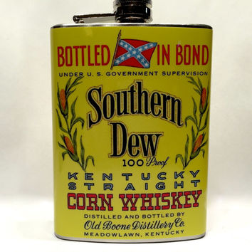 Southern Dew Liquor Label Stainless Steel 8oz Hip Flask Kentucky Straight Corn Whiskey