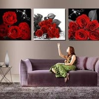 3 Piece Modern Wall Art Painting Red roses Flower Home Decorative Picture Paint on Canvas Modular Prints (Unframed)
