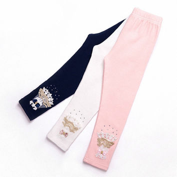 children girls blue white pink lace beading rhinestone skinny leggings kids fashion autumn spring cotton casual leggings clothes