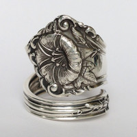 Vintage Morning Glory Sterling Spoon Ring