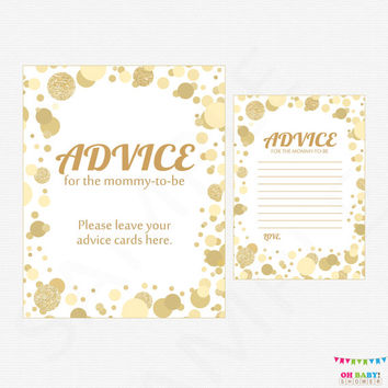 Gold Advice for Mommy To Be - Baby Shower Mom Advice Cards - Gold Baby Shower Games - Glitter Confetti - Gold Boy Girl - Printable CB0003-G