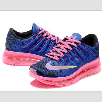NIKE Trending Fashion Casual Sports Shoes AirMax Toe Cap hook section knited blue pink lace up pink soles