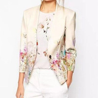 Fashion Hot Popular Retro Vintage Floral Printed Business Casual Suit Outerwear Jacket a12971