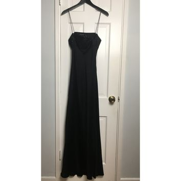 Tahari black silk satin evening gown sz M