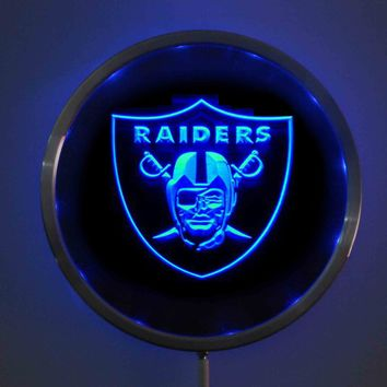 rs-0143 Oakland Raiders LED Neon Round Signs 25cm/ 10 Inch - Bar Sign with RGB Multi-Color Remote Wireless Control Function