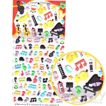 Musical Notes  and Instruments Piano Violin Harp Shaped Puffy Stickers | Cute Music Themed Scrapbook Decorating Supplies