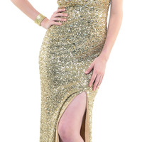 Gold Stretch Fully Sequined Strapless Gown