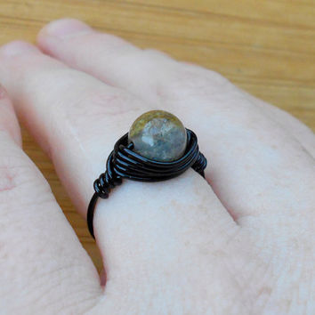 Ring,handmade ring, black stone ring, Agate ring ,Agate stone, wire wrap,wire ring,gemstone ring,bohemian ring, custom ring,healing crystals