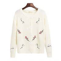 FLORAL PLANTS EMBROIDERY KNIT CARDIGAN
