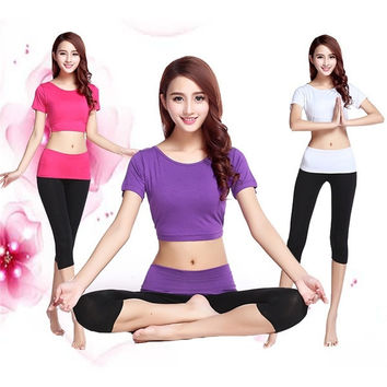 Women's fahsion Sexy slim yoga suit clothes women modal solid color short sleeve suits workout clothes = 1956695428