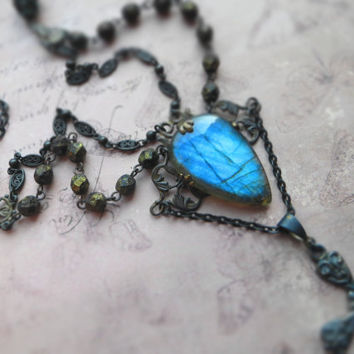 Gothic statement labradorite necklace / steampunk costume assemblage / ornate cross, chains, Czech glass, oxidized brass