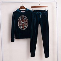 Juicy Couture Studded Logo Velour Tracksuit 2pcs Women Suits Teal