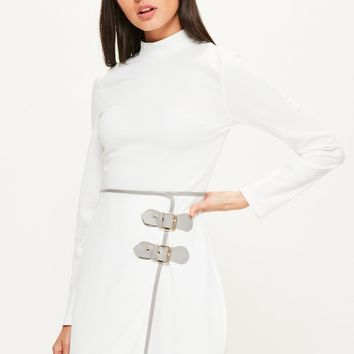 Missguided - White High Neck Buckle Skirt Bodycon Dress