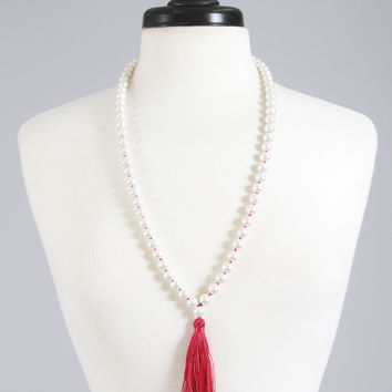 knotted pearl tassel necklace - fuchsia